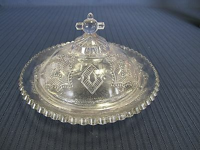 Eapg Antique Vintage Sawtooth Covered Butter Dish With Cross Fineal Cover