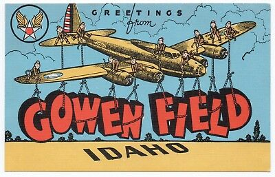 ID COWEN FIELD Idaho 1940s WW2-Era LARGE LETTER LINEN Greetings From UNUSED VG+
