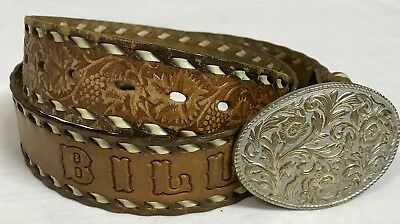 Personalized BILL Laced Leather Tooled Western Belt with Buckle 36