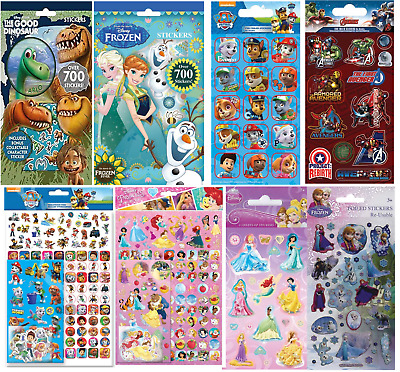 Boys Girls Childrens Character Fun Stickers Sheets Party Pack Loot Bag Fillers