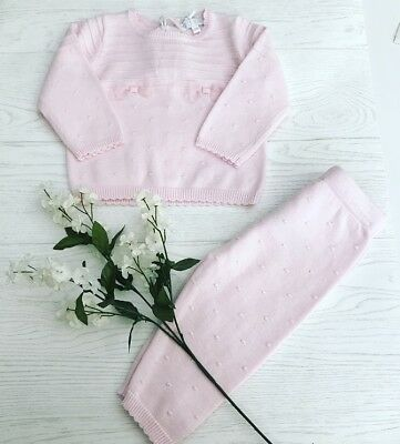 Traditional Spanish Style Baby Girls Knitted Pink Outfit