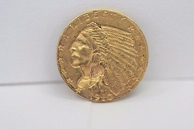1910 USA $2 1/2 Indian Head Gold Coin NR