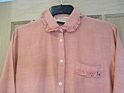 Vintage Original  'mary Quant'  Wool/cotton Blouse. Coral/cream.  Measures 19""