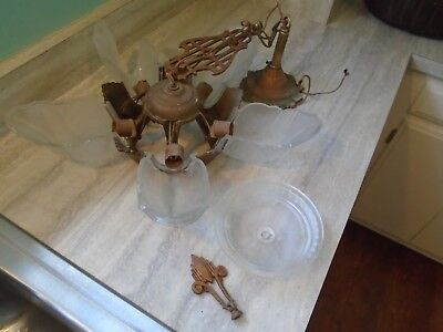 Antique Art Deco Slip Shade Chandelier Frosted Glass Shades