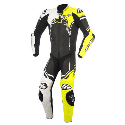 Alpinestars Black/White/Fluorescent Yellow 1-Piece GP Plus v2 Leather Race Suit