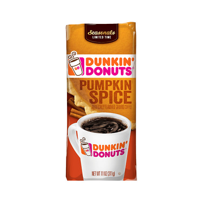New Dunkin Donuts Seasonal Limited Time Pumpkin Spice Ground Coffee 11 Oz