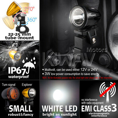 mini LED lampe spot feu de route noir 22-25mm diameter bar pour scooter