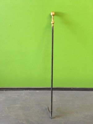 """Antique 19th Century Brass and Wrought Iron Long Scale Fireplace Poker 46"""" x 4"""""""