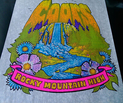 Vintage  Rare COORS ROCKY MOUNTAIN HIGH  Iron-On Transfer by Roach BEER