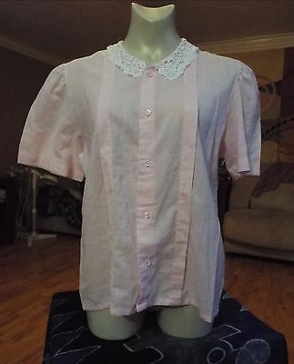 VINTAGE 80's Pale Pink Blouse with Lace Collar