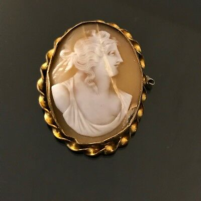 Antique Victorian Carved Real Shell Cameo Gold Filled Brooch Pin.