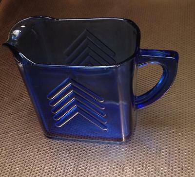 Hazel Atlas Cobalt Blue Chevron Design Creamer