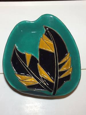Mid century hand crafted copper enamel tray