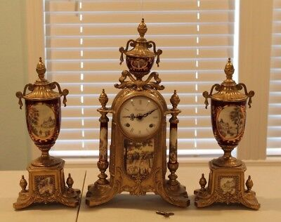 Antique Imperial Made in Italy Sevres Style Clock with Garnitures 3 Total Pcs NR