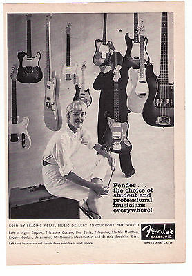 """1960's Vintage Fender Guitars """"Choice of Student and Pro's""""  Print Advertisement"""