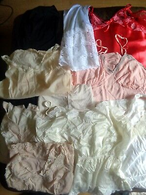 Good Sized Job Lot of Vintage slips body nightie  10 Items nylon  (J35)