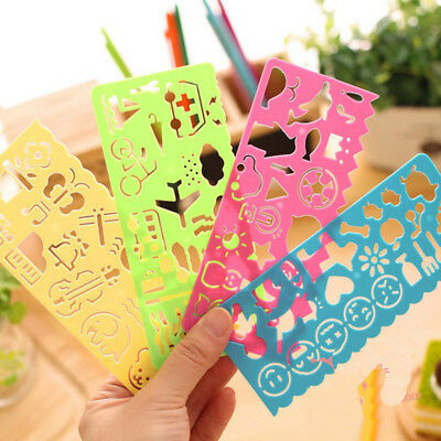 4pcs/set Drawing Plastic Template Ruler Stencil Tool Stationery Kids DIY Toy