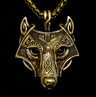 Wolf Head Viking Nordic 60cm Metal Keel Chain Necklace Antique Shiny Gold Brass