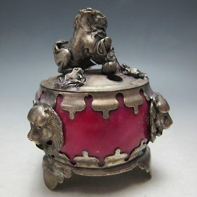Censer rare beautifully sculpted silver lion jade Incense burner gd7127