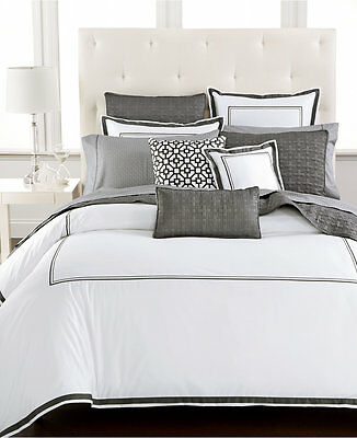 Hotel Collection Bedding Embroidered Frame FULL/QUEEN Comforter CHARCOAL E1235
