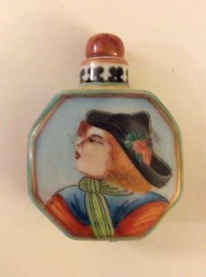 Antique Chinese Hand Painted Marked Snuff Bottle With Calligraphy