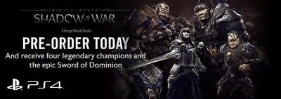Middle Earth: Shadow of War (PS4) Pre-Order DLC - 4 Champions & Sword/Dominion