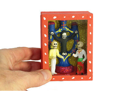 Tree of Death Diorama Box, Day of the Dead Art Handmade in Mexico.