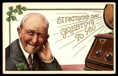 Mayfairstamps  ST PATRICKS DAY GREETING TO YOU LISTENING TO LOUD MUSIC EMBOSSED