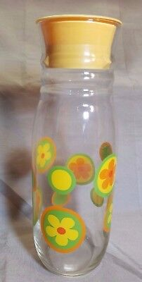 Vintage 1960s/70s Flower Power 1 Qt Glass Refrigerator Bottle w/Yellow Lid
