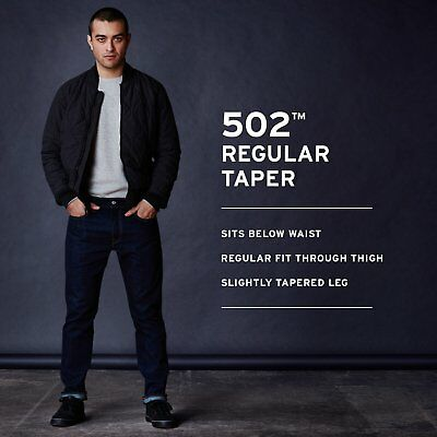 Mens Levis 502 Regular Taper-Fit Jeans Stretch/ No Stretch Varierty Colors