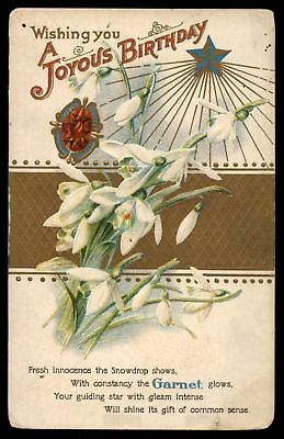 Mayfairstamps  WISHING YOU A JOYOUS BIRTHDAY WHITE FLOWERS EMBOSSED POSTCARD