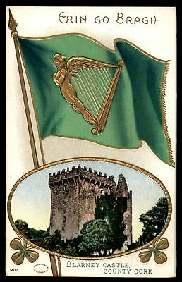 Mayfairstamps  BLARNEY CASTLE WITH GREEN FLAG SERIES 7407 EMBOSSED POSTCARD