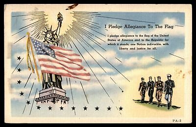 Mayfairstamps 1942 I PLEDGE ALLEGIANCE TO THE FLAG ART TONE SERIES POSTCARD CANC
