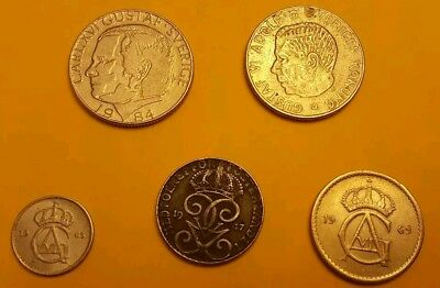 Lot of 5 coins from Sweeden, 1947-84