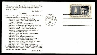 Mayfairstamps US FDC 1964 JOHN F KENNEDY MEMORIAL ST AMBROSE ABC CACHET UNSEALED