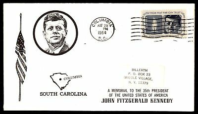 Mayfairstamps US FDC 1964 JOHN F KENNEDY MEMORIAL COLUMBIA SC CACHET UNSEALED