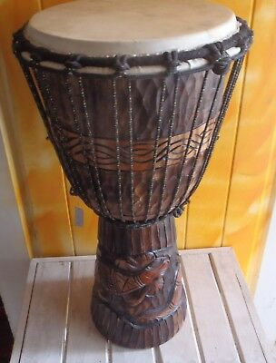 HANDMADE CARVED INTO WOOD BONGO DRUM GOAT SKIN PROFESSIONAL PERCUSSION 60cmH