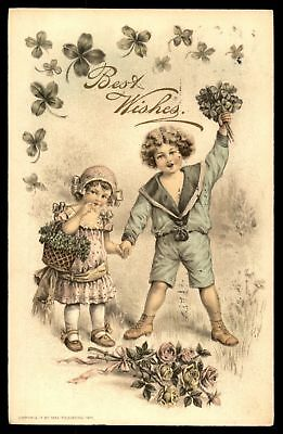 Mayfairstamps 1913 BEST BIRTHDAY WISHES COUPLE OF KIDS WITH FLOWERS POSTCARD CAN