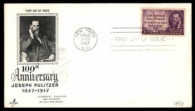 Mayfairstamps US FDC 1947 JOSEPH PULITZER ARTCRAFT SC 946 UNSEALED