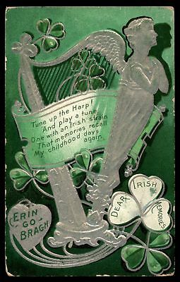 Mayfairstamps 1913 ST PATRICKS DAY TUNE UP THE HARP SERIES 2 EMBOSSED POSTCARD C