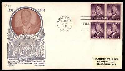 Mayfairstamps US FDC 1945 ALFRED E SMITH BLOCK LW STAEHLE SC 937 UNSEALED