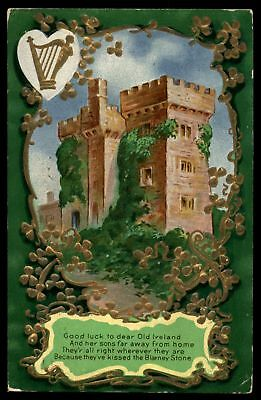 Mayfairstamps 1912 GOOD LUCK TO DEAR OLD IRELAND BLARNEY STONE CASTLE EMBOSSED P