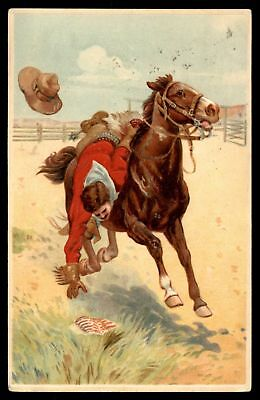 Mayfairstamps 1910 WESTERN COWBOY RIDING ON A HORSE EMBOSSED POSTCARD CANCELLED