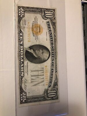 STAR 1928  $10 Gold Certificate STAR NOTE Rare