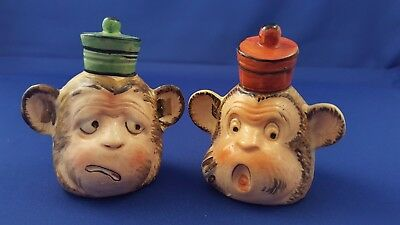 Rare Vtg Shafford Monkey In Hats Salt Pepper Shakers Evc