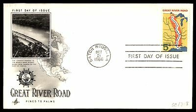 Mayfairstamps US FDC 1966 GREAT RIVER ROAD ARTCRAFT SC 1318 UNSEALED