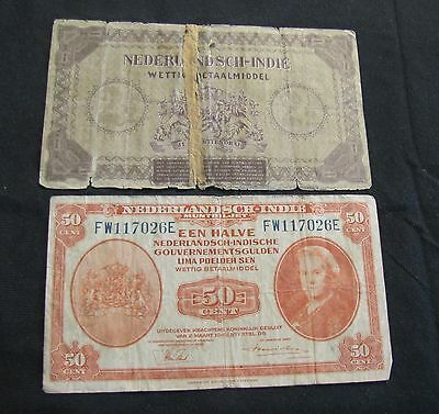 Lot of 2 Netherlands Indies Notes - 1943 50 Cents and 1940 2 1/2 Gulden