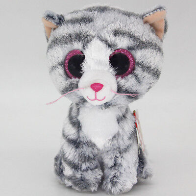 "Ty Beanie Boos 6"" Big Eye Gray Cat Stuffed Plush Toy Soft Animals Toy Plush Doll"