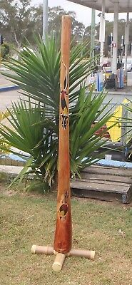 HAND CARVED&PAINTED EUCALYPTUS WOOD DIDGERIDO DOTART WAX MOUTH 160cmH END FLANGE