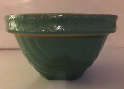 Antique Early 20Th Century American Green Ceramic Mixing Bowl.